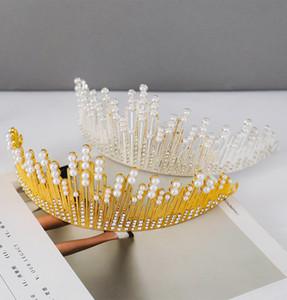 Düğün Aksesuarları Gelin Taç Headdress İnci Buz Kraliçesi Taç Düğün Saç Aksesuarları El Yapımı Elmas Birthday Cake Dekorasyon