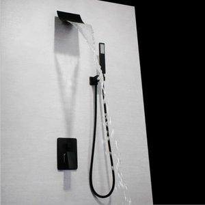 Matt Black Finish Wall Mounted Large Waterfall Shower head Faucet Tap Set Brass tub showers 3 Way Shower Valve Mixer Set