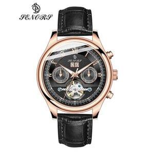 Senors Men Watches Automatic Black Watch Men Stainless Steel Waterproof Business Sport Mechanical Wristwatch