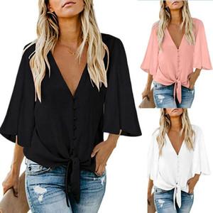 Kadın Moda Bluzlar Yaz Gömlek Gevşek Tunik Casual Bluz Gömlek Kadın Giyim Plus Size Kadınlar giyim bayanlar üst tee Tops