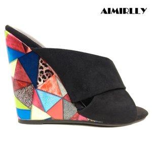 Aimirlly Yaz Kadın Casual Siyah Sahte Suede On Katır Bayanlar Kama Sandalet Terlik Çiçek Desen Slipini Yüksek Topuklar Ayakkabı