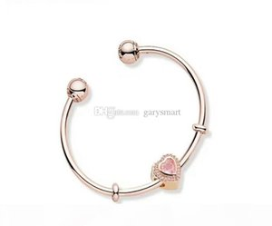 Authentic 925 Sterling Silver Moments Silver Open Cuff Bangle With Pave Caps Fits European Designer Style Jewelry Charms Beads 59643922Zc
