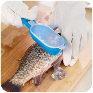 Fish Scale Cleaner Fish Skin Scraper Brush Shaver With Cover Knife Seafood Tool Multifunctional Plastic Fish Knife