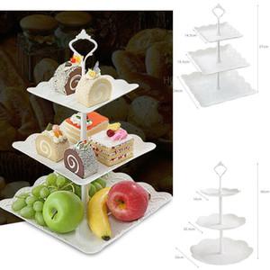 3 Tier Kunststoff-Kuchen-Standplatz Afternoon Tea Hochzeit Teller Partei Geschirr Bakeware Cake Shop Drei-Schicht-Kuchen-Zahnstangen-Behälter