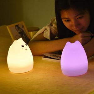 Мода тактильного датчика LED Night Light Для детей Детские Дети Изменение цвета Cat LED USB LED Night Украшение лампы