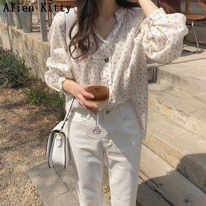 Alien Kitty Retro Korea Chic Hot Casual Free Sweet Blouse 2019 Summer New Arrival Elegant O-Neck Long Sleeves Fresh Simple Shirt Y200622