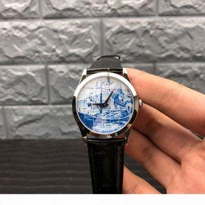 FL factory automatic movement 240 watch 38.6MM18K platinum miniature enamel sapphire crystal crocodile leather watch strap with sword shape
