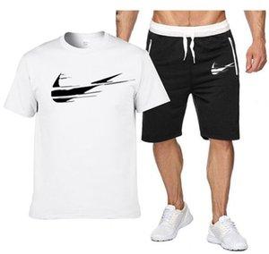 Summer Mens Sets Short Sleeve Print Tracksuit Men Sportswear Casual 2 Pieces Set T-Shirt+Shorts Male Clothes Slim Sports Suits S-2XL
