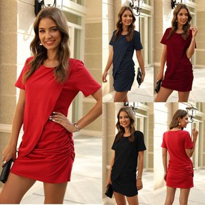Women Short Sleeve Sexy Bodycon Ribbed Summer Dress Women Drawstring Ruched Bandage Streetwear Mini Dress Party Dresses