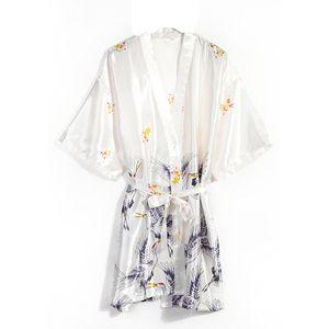 2020 New Pajamas Women Summer Bride Morning Gown Imitation Silk Large Medium Sleeve Nightgown Women Ice Silk Bathrobe Set