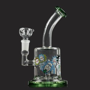 Cartoon Pattern Glass bong 14.5mm Female Smoking Water Bongs Dab Rigs With Free Glass Bowl
