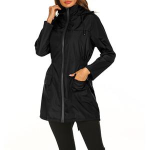 Bayanlar Uzun yağmurluk su geçirmez hafif kukuletalı açık rüzgarlık ince ceketler spor ceket womens