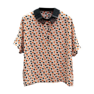 20200721 Fashionable Short Sleeve Chiffon shirt with floral print on cuffs