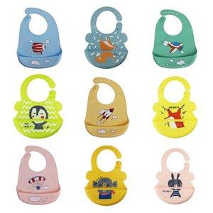 Baby Bibs Waterproof Silicone Feeding Baby Saliva Towel Newborn Cartoon Aprons Bibs Adjustable Burp Cloths Bandana