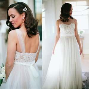 Simple Design Elegant Lace Top Soft Tulle Floor Length Straps Bridal Gowns Vestidos De Noiva Sexy Sheer Neck Wedding Dresses