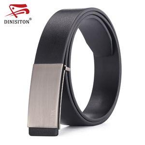 DINISITON 100% cowhide genuine leather belts for men Strap male Smooth buckle vintage jeans cowboy Casual designer brand belt