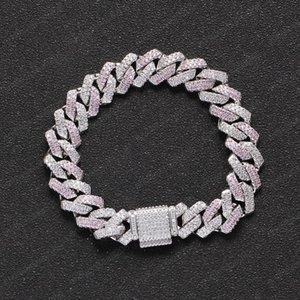High End Quality 13mm 7 8inch Silver Color Iced Out CZ Cuban Links Bracelet Mens Punk Hip Hop Jewelry Gifts