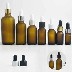 10 x helada botella de vidrio de color ámbar cuentagotas líquido e viales con pipeta para Perfume Cosmética Aceite Esencial 50 ml 100 ml 30 ml 20 ml 10 ml