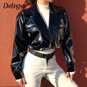 Darlingaga Street Style PU-Lederjacke weiblichen Punk abgeschnitten Jacken beschichten schwarze Winterfrauenjacke 2020 outwear veste femme