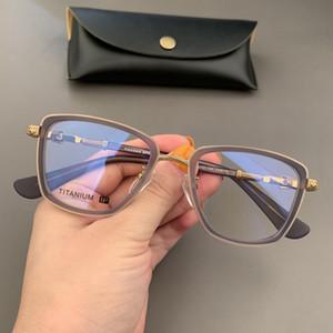 Marca struttura di vetro quadrato retro di vetro ottici degli occhiali di moda per donne degli uomini miopia occhiali al titanio Eyewear con la scatola originale