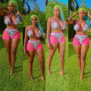 Sexy доллар Swimsuits Мода розовый Холтер сетки Щитовые 2 частей бикини Комплекты женские летние Купальники Женщины