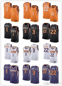 Womens Juventude MensFénixSuns1 DevinBooker 3 Kelly Oubre Jr. 22 DeandreAyton Costume branco Basketball Jerseys