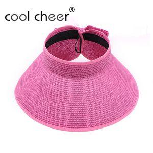 [CoolCheer] Fashion Women Lady Foldable Roll Up Sun Beach Wide Brim Straw Visor Hat Cap Floppy Summer Beach Women Casual