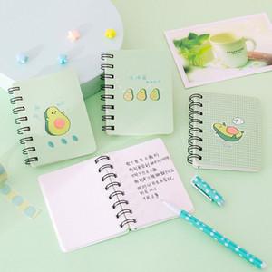 A7 Mini Karikatür Notebook Flipable Taşınabilir Bobin Avokado Gevşek yapraklı Notepad Günlüğü Okul Kırtasiye Dergisi Günlüğü Notepad Malzemeleri