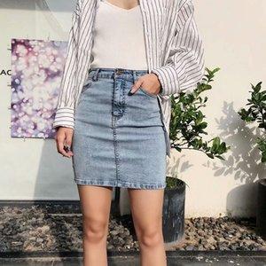 3C / denim de alta cintura denim negro 2002RP las mujeres de moda falda alta falda recta elástica