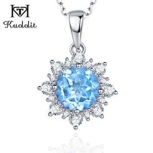 Kuololit Topázio Azul Gemstone pingentes colares For Women 925 Sterling Silver Sky azul Londres Engagement presente Fine Jewelry