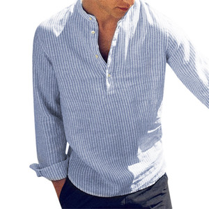 New Fashion Spring Summer Casual Men's Shirt Cotton Long Sleeve Striped Slim Fit Stand Collar Shirts S-5XL