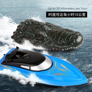 2.4G Simulazione Crowodile Head RC 10Km / h Telecomando Telecomando Elettrico Racing RC Barca per piscina Joke Prank Maker Fun Novità Simulazione Giocattolo Spoof