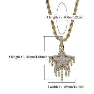 I Mens Jewelry Gold Necklaces Hip Hop Jewelry White Color Zircon Iced Out Chains Retro Star Pendant Mens Necklace Stainless Steel Whole