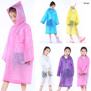 Non-disposable Raincoats Ponchos For Children Thicken Wearable EVA Kids Raincoat Outdoor Travel Hooded Poncho Kids Raincoat TQQ BH1666