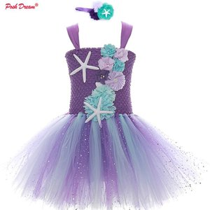 Flower Kids Girls Birthday Party Tutu Dresses with Headband Purple Sea Star Princess Toddler Baby Girls Wedding Dress Kids Cloth