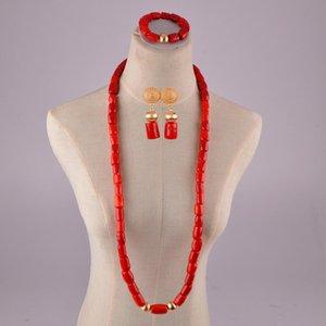 bijoux naturels corail rouge mis perles de corail de mariage africain perles de corail nigéria ensembles de bijoux pour les hommes et les femmes T200507
