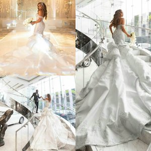 South African Mermaid Wedding Dresses Plus Size Off Shoulder Long Train Black Girls Robe De Mariee Lace Beaded Luxury Wedding Gowns