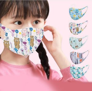 designer face mask kid mask random print kid mouth mask dustproof househould protective ice silk cotton field pink cover protective masks