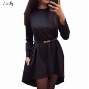 Irregular Women Solid Dress 2020 Autumn Winter Long Sleeve O Neck Elegant Casual Loose Office Lady Dresses Without Belt Q0074b