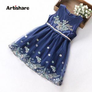 Partido Ropa Artishare niñas vestido bordado de niños de flor de la princesa vestido de adolescentes que niños Ropa de boda Vestidos UTJs #