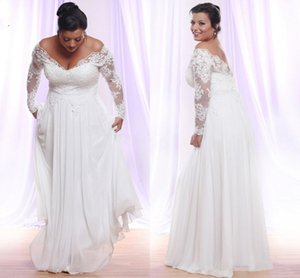 Long Sleeves Plus Size Wedding Dresses Modest V-neck Applique Beach country Wedding Gowns Off The Shoulder Bridal Gowns Vestido De Novia