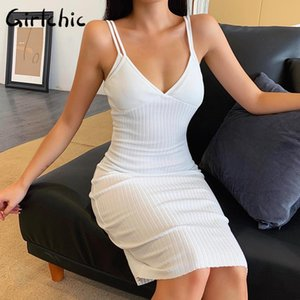 Girlchic Sexy White Knitted Double Strap Elasticity Bodycon Dress Women Sleeveless V Neck Backless Dress Party Street Clothing