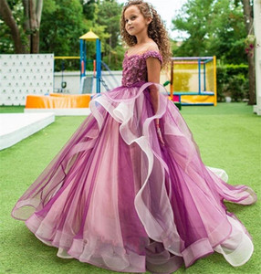 Fuchsia Tiered Tulle Flower Girl Dress Jewel Sheer Neck Sleeveless Appliqued Lace Beaded Pageant Dresses Sweep Train Birthday Gown Custom