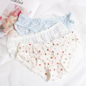 ComfortableTransparent Strawberry Intimates Hot Sale Knickers Underwear Women Cute Japan Style Low Rise Mesh Lace Panties