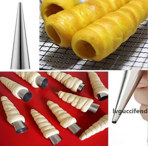 New DIY Baking Cones Stainless Steel Spiral Croissant Tubes Horn bread Pastry making mold tools Cake Mold baking supplies