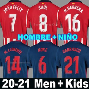 20 21 atletico madrid camiseta de fútbol JOAO FELIX home red white 2020 2021 KOKE SAUL GODIN black football shirt kits hombres niños third blue soccer jersey