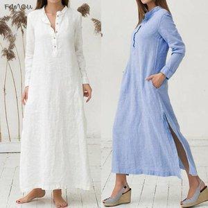 Womens Dress V Neck Kaftan Cotton Long Sleeve Plain Casaul Dress Oversized Maxi Long Shirt Dress Women Jul20 Designer Clothes