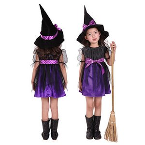 Witch Cloak Hat Set Kid Halloween Costumes Children Cosplay Dress Girl Carnival Party Fantasia Clothing For Stage Performance BH2271 WCY