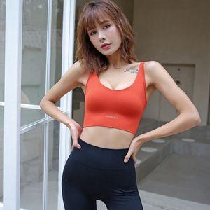 Women Shockproof gathering sports bra fitness fym push up bra running tank