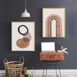 Современной Boho Wall Art Burnt Orange Аннотация Печать Минималистских полотнам скандинавских Картины Картины для гостиной Home Decor